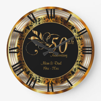 Eleganter 50. goldener Jahrestag Große Wanduhr