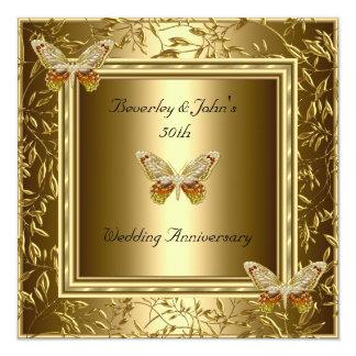 Eleganter 50. Hochzeitstag-Goldschmetterling Quadratische 13,3 Cm Einladungskarte