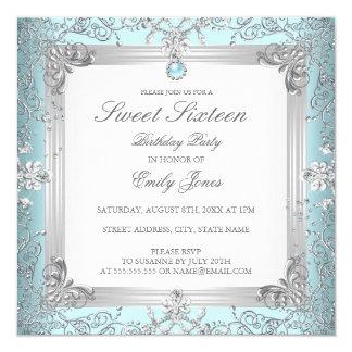Eleganter aquamariner Bonbon 16 sechzehn Quadratische 13,3 Cm Einladungskarte