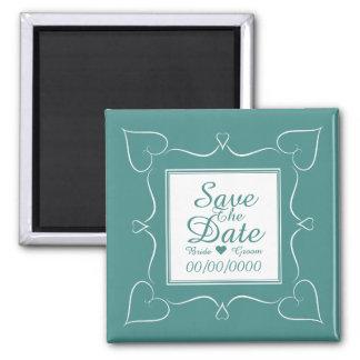 Eleganter aquamariner Hochzeits-Herz-Save the Date Quadratischer Magnet