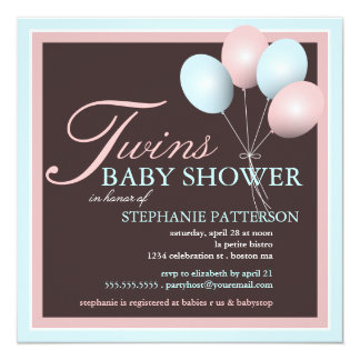 Eleganter Baby-Ballon paart Babyparty-Einladung Quadratische 13,3 Cm Einladungskarte