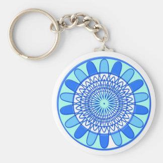 Eleganter blauer Schein-Juwel-Entwurf Standard Runder Schlüsselanhänger