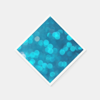 Eleganter blauer Türkis Bokeh kreist helles Muster Papierservietten