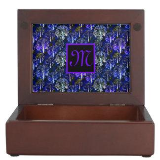 Eleganter blauer u. violetter mit Monogramm Erinnerungsschachtel