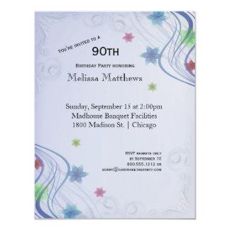 Eleganter blauer Wirbel und buntes Waterflowers 10,8 X 14 Cm Einladungskarte