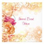 Eleganter Blumenstrudel der Vintagen Rose Ankündigungskarten