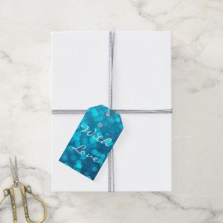 Eleganter Bokeh blauer Türkis kreist Muster ein Geschenkanhänger