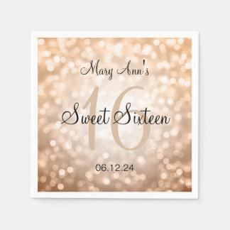 Eleganter Bonbon 16 Geburtstags-kupferne Papierservietten