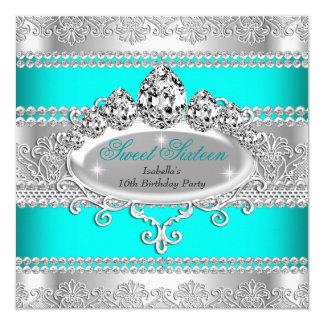 Eleganter Bonbon 16 Geburtstags-Prinzessin Teal Quadratische 13,3 Cm Einladungskarte