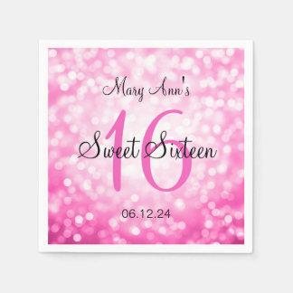Eleganter Bonbon 16 Geburtstags-rosa Papierserviette