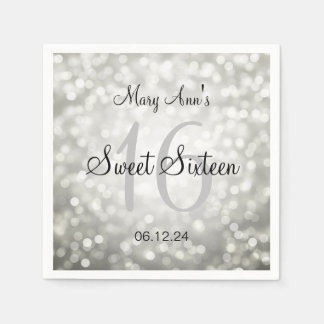 Eleganter Bonbon 16 Geburtstags-silberne Papierservietten