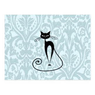 Eleganter Damast der schwarzen Katze Vintag Postkarten