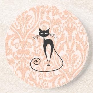 Eleganter Damast der schwarzen Katze Vintag Getränke Untersetzer