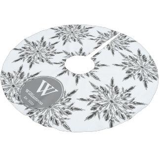 Eleganter Eiskristall-Schneeflocke-Familienname Polyester Weihnachtsbaumdecke