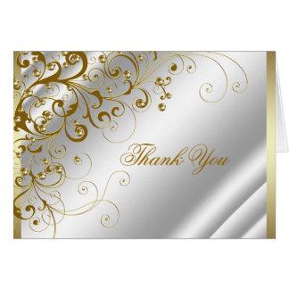 Eleganter Elfenbein-und GoldWirbel dankt Ihnen Mitteilungskarte