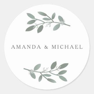Eleganter Eukalyptus-Hochzeits-Umschlag Aufkleber