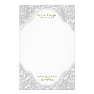 Eleganter extravaganter weißes Goldstrudel Briefpapier