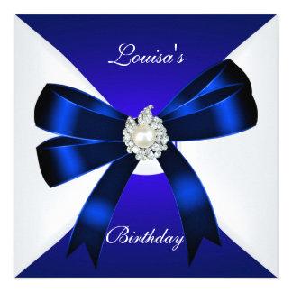 Eleganter Geburtstag laden Königsblau Pearl White Quadratische 13,3 Cm Einladungskarte