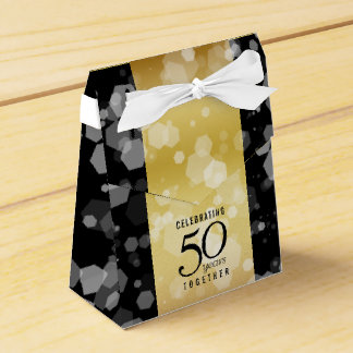 Eleganter gestreifter 50. goldener Hochzeitstag Geschenkschachtel