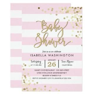 Eleganter GoldConfetti der Babyparty-| u. rosa Karte