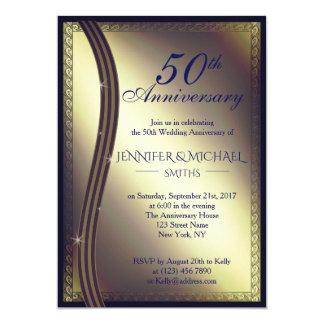 Eleganter goldener Hochzeitstag laden ein Karte