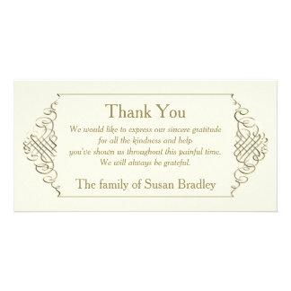 Eleganter goldener Rahmen - Beileid danken Ihnen Individuelle Photo Karten