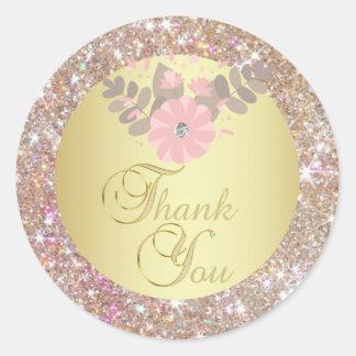 Eleganter GoldGlitter danken Ihnen Umschlag Runder Aufkleber