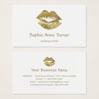 Eleganter GoldGlitzer-Lippenmake-upkünstler Visitenkarte