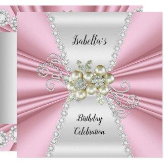 Eleganter hellrosa Pearl White-Diamant-Geburtstag Karte