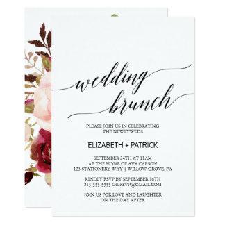 Eleganter hinterer Hochzeits-mit BlumenBrunch der 12,7 X 17,8 Cm Einladungskarte