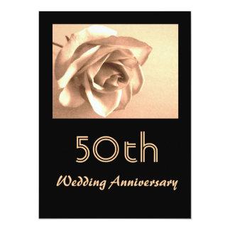 Eleganter Hochzeits-Jahrestag der Sepia-Rosen-50. Karte