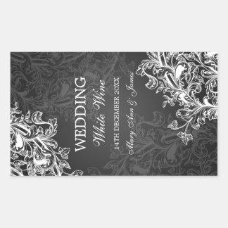 Eleganter Hochzeits-Wein-Aufkleber-Vintages Rechteckiger Aufkleber