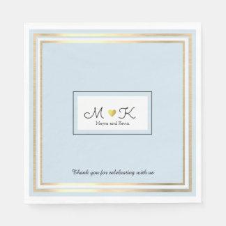 eleganter Hochzeitsfeier-Empfang hellblau Papierservietten