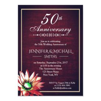 Eleganter Hochzeitstag Burgunders 50. laden ein Karte