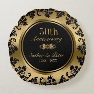Eleganter Hochzeitstag des Golddamast-50. Rundes Kissen