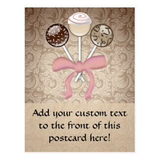 Eleganter Kakao-Damast-Kuchen-Pop Postkarte
