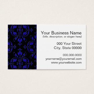 Eleganter Kobalt-Blau-und Schwarz-Damast Visitenkarte