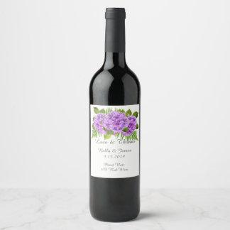 Eleganter lila Hydrangea-Hochzeits-Wein-Aufkleber Weinetikett