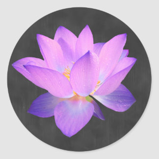 Eleganter lila Lotos-Aufkleber Runder Aufkleber