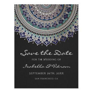 Eleganter Mandala, der Save the Date Postkarten