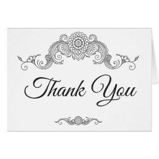 Eleganter Mehndi Entwurf danken Ihnen Karte