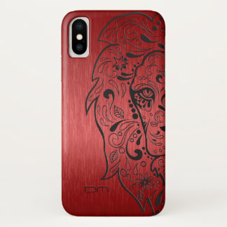 Eleganter metallischer roter u. schwarzer iPhone x hülle