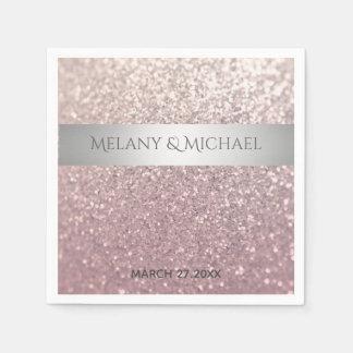 Eleganter moderner glittery silberner Streifen Papierservietten