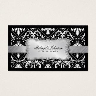 Eleganter moderner Schwarzweiss-Damast mit Silber Visitenkarten