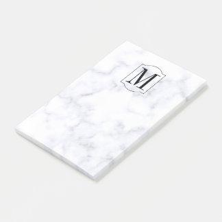Eleganter personalisierter Monogramm-Marmor Post-it Klebezettel
