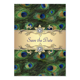 Eleganter Pfau, der Save the Date Wedding ist Karte