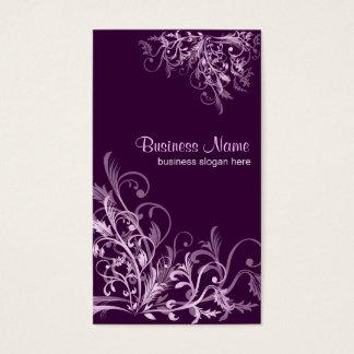 Eleganter Retro Lavendel-Blumen-Wirbel 3 Visitenkarte