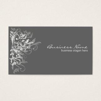 Eleganter Retro weißer Blumen-Wirbel dunkelgrau Visitenkarten