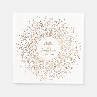 Eleganter romantischer Hochzeits-Gold-u. Serviette