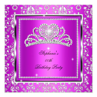 Eleganter rosa lila Damast-Silbertiara-Geburtstag Quadratische 13,3 Cm Einladungskarte